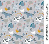 vector seamless pattern with... | Shutterstock .eps vector #1591082248