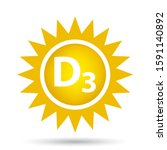 vitamin d3 icon with sunshine ... | Shutterstock .eps vector #1591140892