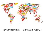 world map of fishes and seafood ... | Shutterstock .eps vector #1591157392