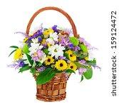 Flower Bouquet In Wicker Baske...