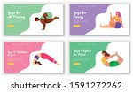 yoga poses landing page vector...