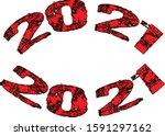 happy 2021 text sign... | Shutterstock .eps vector #1591297162