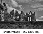 A Greyscale Of The Ruins Of...