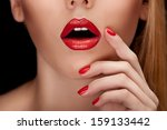 red sexy lips and nails closeup. | Shutterstock . vector #159133442