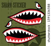 Flying Tiger Shark Mouth Sticker Vinyl on green  background Vector