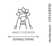 anxiety disorder linear icon.... | Shutterstock .eps vector #1591338958