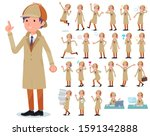 a set of detective man with who ...   Shutterstock .eps vector #1591342888