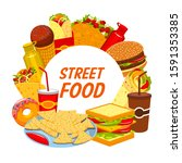 fast food and street food...   Shutterstock .eps vector #1591353385