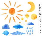 Watercolor Set Sun  Clouds ...