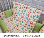 set of bed linen for the baby.... | Shutterstock . vector #1591416535