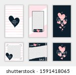 valentine's day post and... | Shutterstock .eps vector #1591418065