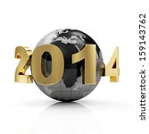 New Year 2014 around Earth planet isolated on white background - stock photo