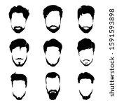 men's beard and hair style icon ...   Shutterstock .eps vector #1591593898