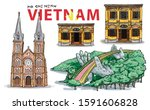 Hand Drawing. Vietnam Landmark...