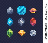 precious stone pixel art icons... | Shutterstock .eps vector #1591623712