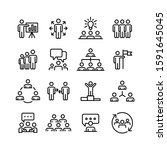 business people line icons set... | Shutterstock .eps vector #1591645045