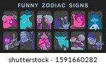 funny zodiac signs. set.... | Shutterstock .eps vector #1591660282