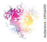 abstract with girls profiles... | Shutterstock .eps vector #159166355
