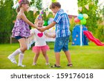 three little kids celebrating... | Shutterstock . vector #159176018