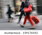 people with a red bag and a... | Shutterstock . vector #159176552