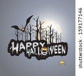 happy halloween card  ...   Shutterstock . vector #159177146
