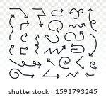 doddle arrow set on white... | Shutterstock .eps vector #1591793245