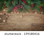 Christmas Fir Tree On Wooden...