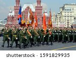 Small photo of MOSCOW, RUSSIA - MAY 7, 2019:Cadets of the Military Academy of the Strategic Missile Forces named after Peter the Great at the dress rehearsal of the parade on Red Square in honor of Victory Day
