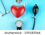 tonometer  stethoscope and... | Shutterstock . vector #159183566