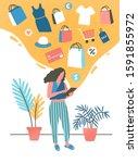 girl shopping online flat... | Shutterstock .eps vector #1591855972