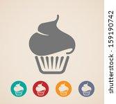 vector cupcake icons