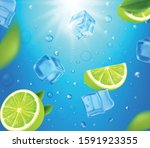 mojito cocktails ads with lime... | Shutterstock .eps vector #1591923355