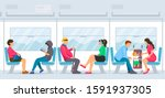 people sitting and standing... | Shutterstock .eps vector #1591937305