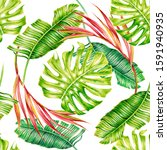tropical palm leaves  jungle... | Shutterstock . vector #1591940935