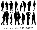 people silhouettes | Shutterstock .eps vector #159194198