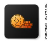 orange glowing neon coin for...