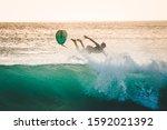 Surfer Falls Off The Board....
