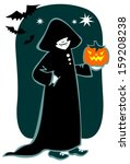 cartoon vampire with pumpkin....   Shutterstock .eps vector #159208238