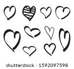 black hearts on isolated white... | Shutterstock .eps vector #1592097598