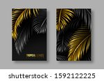 tropical banners with palm... | Shutterstock .eps vector #1592122225