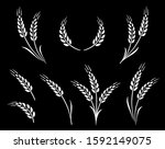 abstract wheat ears icon logo... | Shutterstock .eps vector #1592149075
