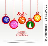 christmas greeting card.... | Shutterstock .eps vector #159219722