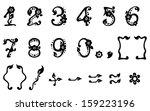 black vector leaf figures set   Shutterstock .eps vector #159223196