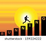 a man running up the stairs... | Shutterstock .eps vector #159224222