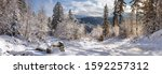 winter landscape  panorama ... | Shutterstock . vector #1592257312