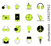 teenage icons of green and... | Shutterstock .eps vector #159227912