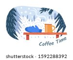 coffee time for hiker  skier... | Shutterstock .eps vector #1592288392