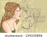 vector portrait of a beautiful... | Shutterstock .eps vector #159235898