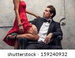 elegant couple passing in... | Shutterstock . vector #159240932