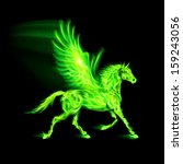Illustration of green fire Pegasus on black background. - stock vector